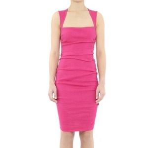 Nicole Miller pink stretch linen dress